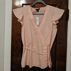 J Crew pink cotton crossover wrap top 12T